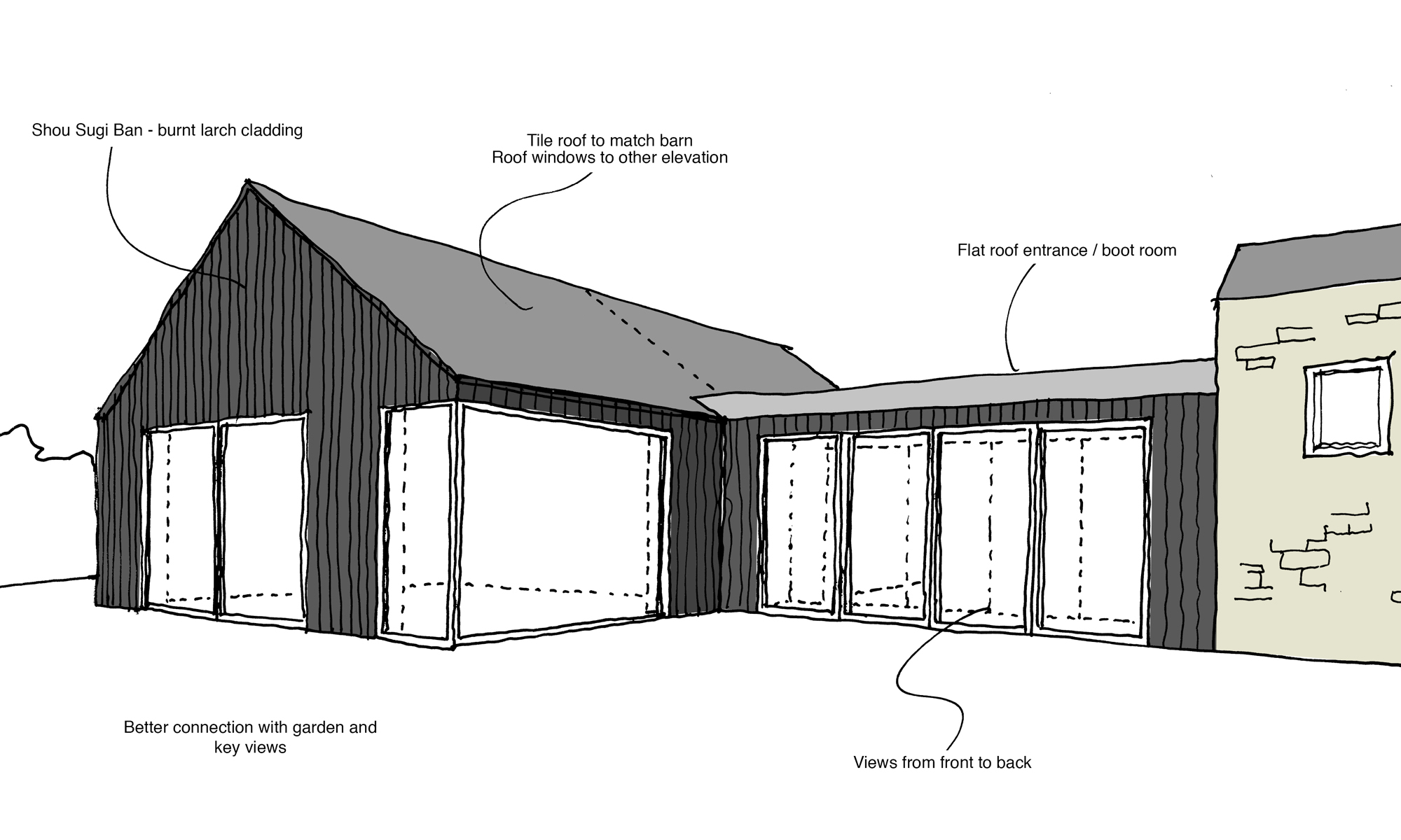 Charred Barn Concept Sketch