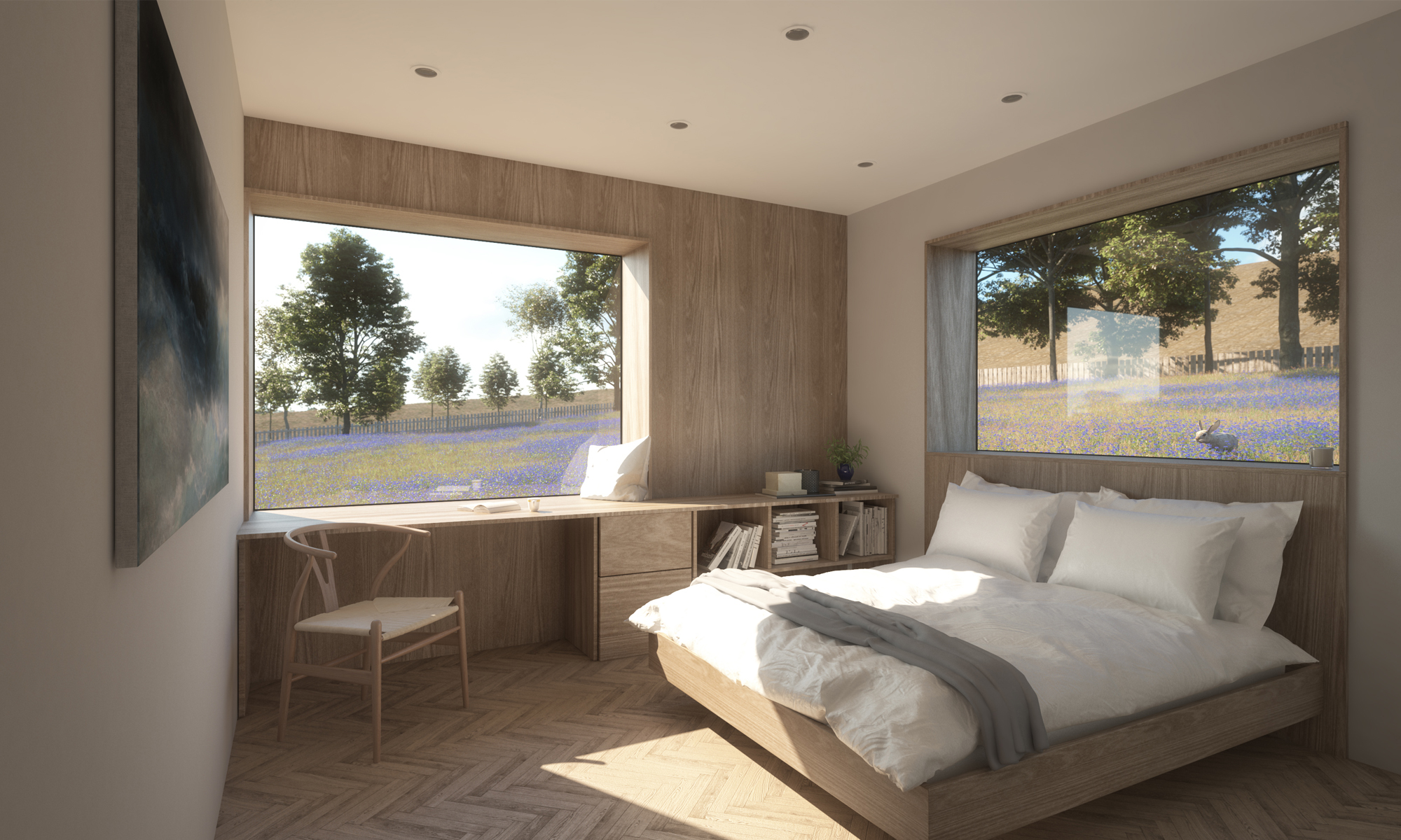Quartet Guest Bedroom Interior Render