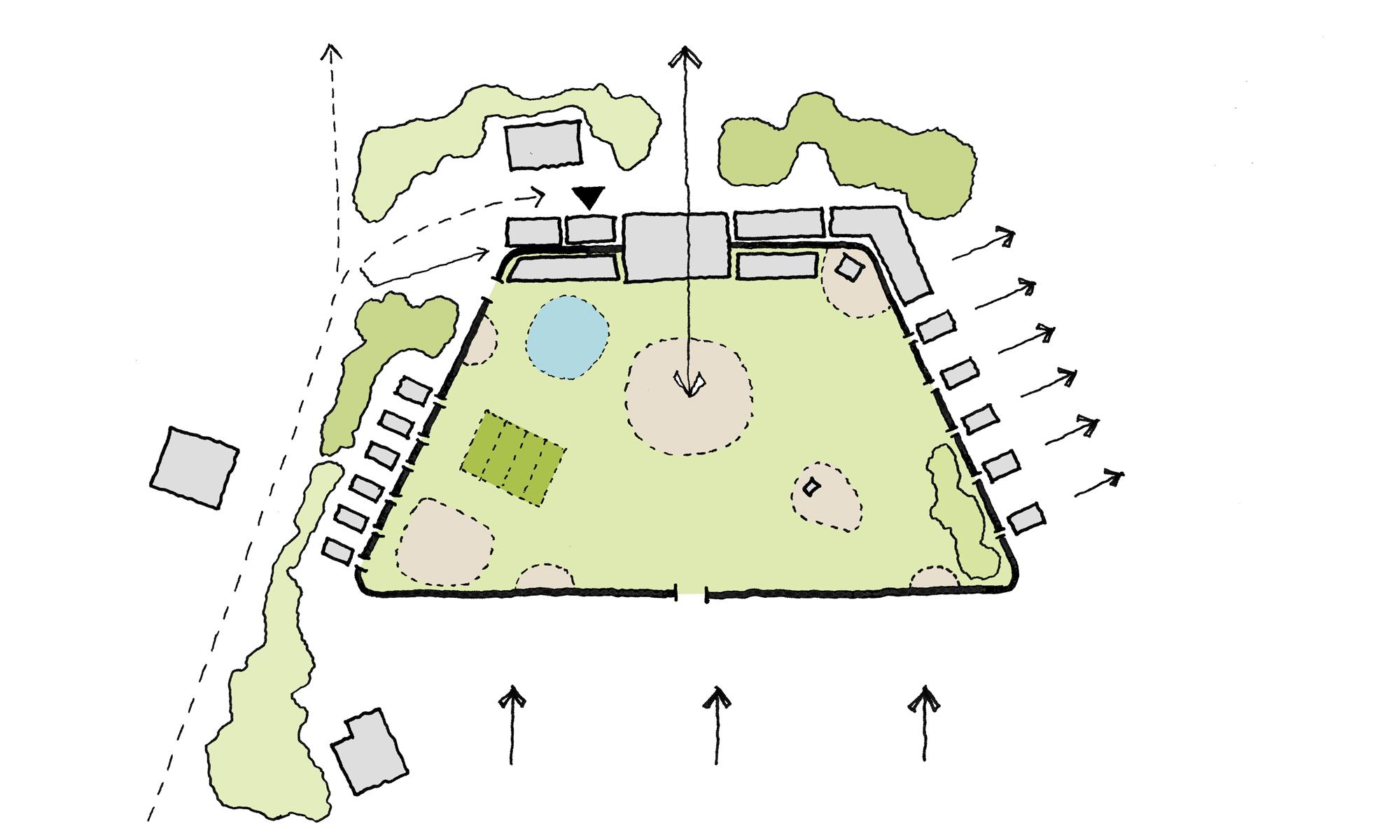 Hesleyside Walled Garden Sketch