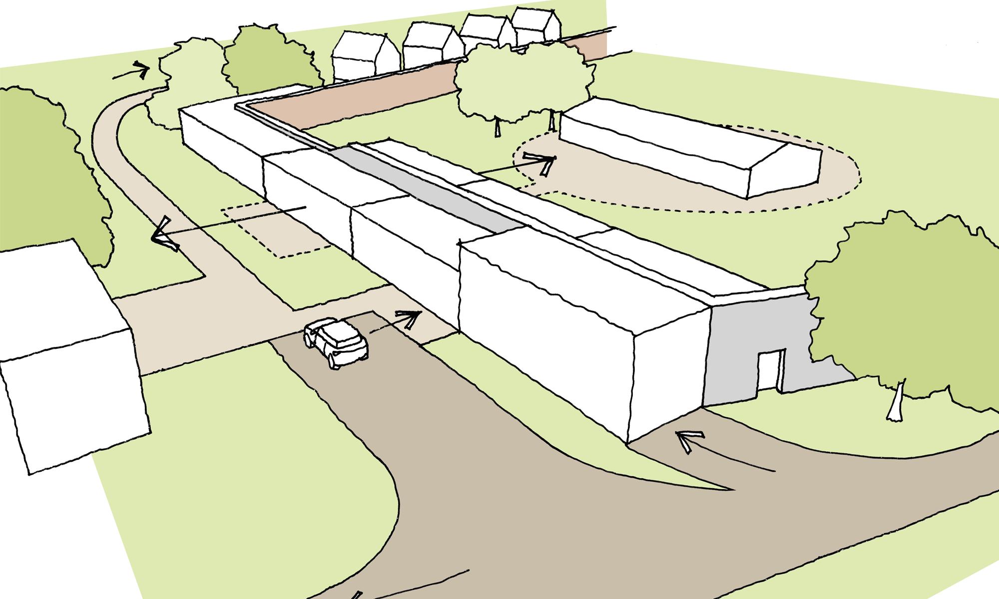 Hesleyside Walled Garden Sketch Communal Area