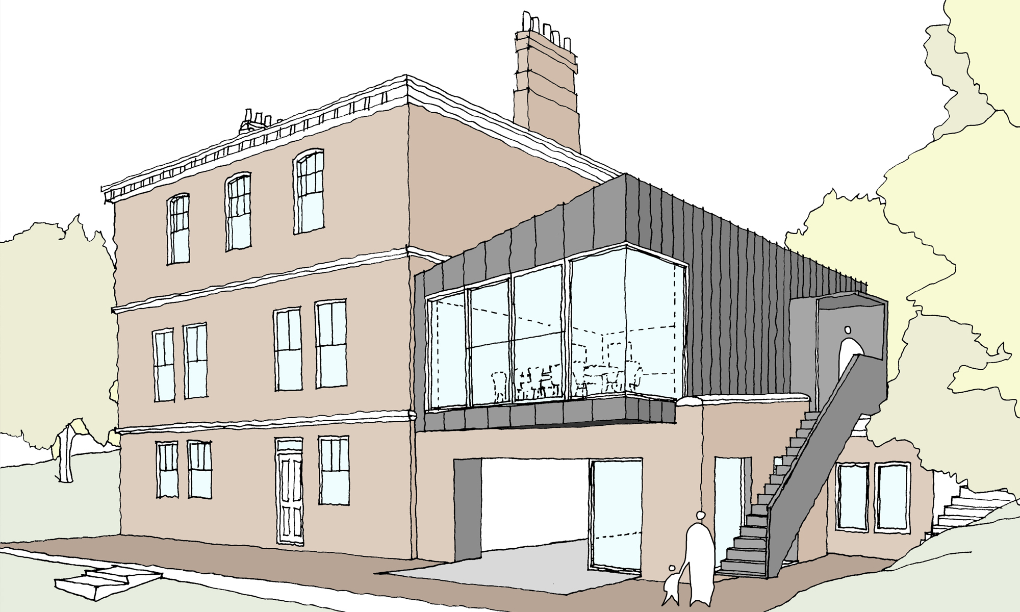 The Old Vicarage Extension Concept Sketch