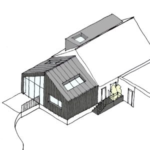 Timber Clad Bungalow Extension & Zinc Roof Dormer