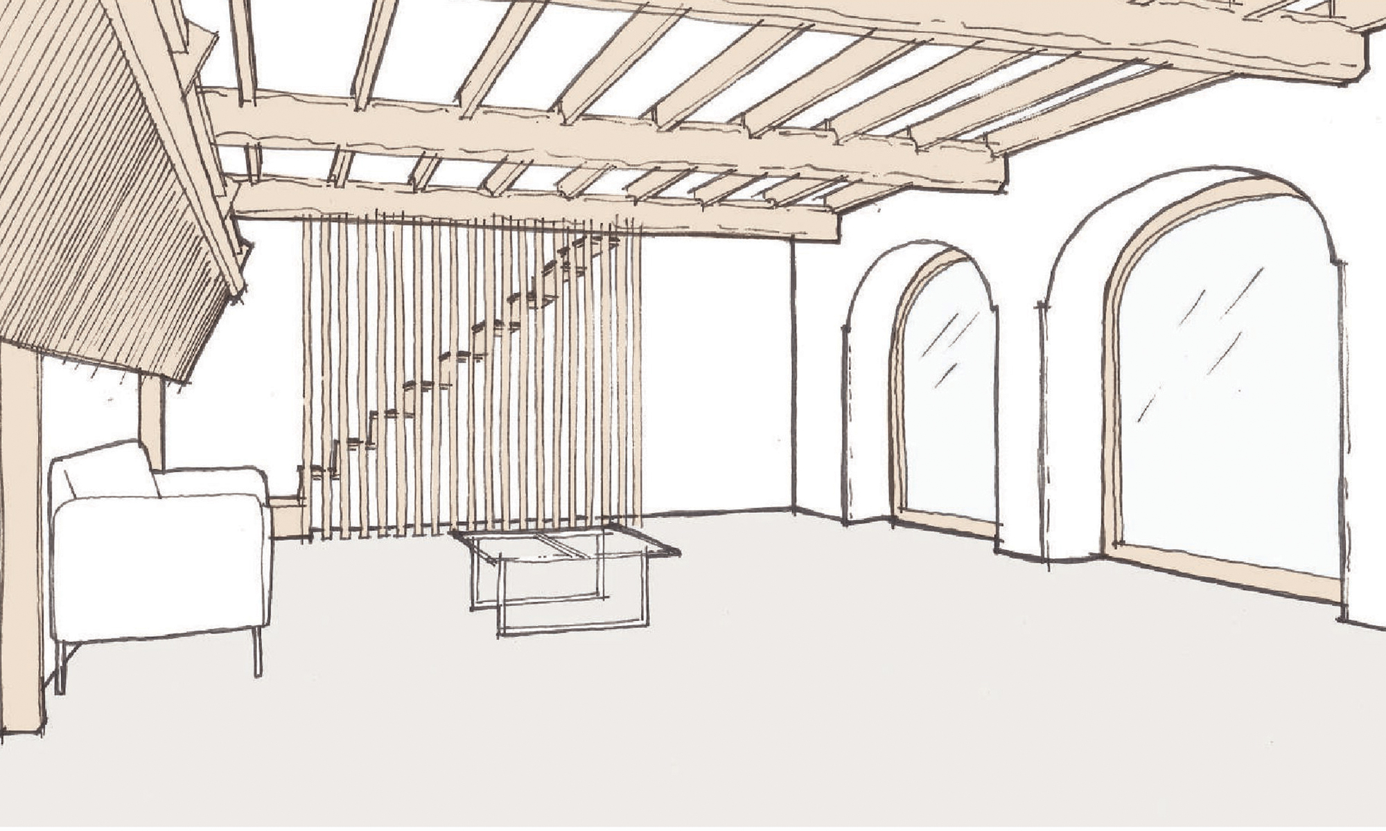 Grade II Barn Conversion Living Room Sketch